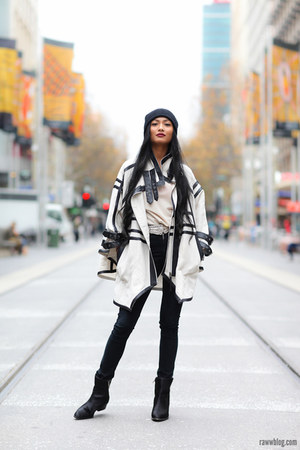 off white cameo cape - black pony skin boots Marcus B boots