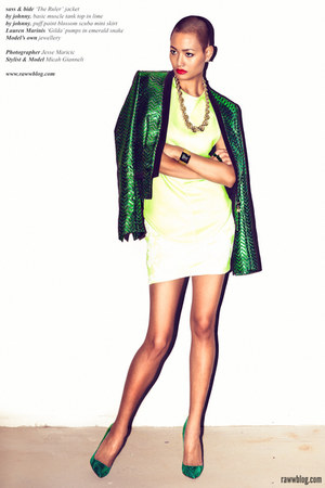 green sass &amp; bide jacket - lime green muscle tank By Johnny top