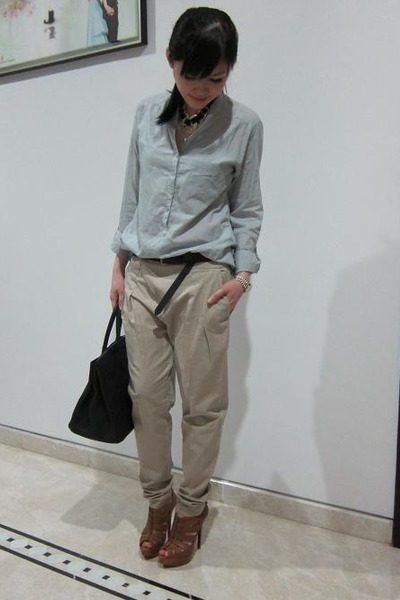 brown Zara pants - brown Louboutin shoes - blue Zara shirt