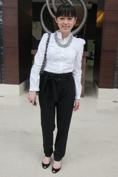 black Zara pants - black Zara shirt - silver Sportsgirl accessories