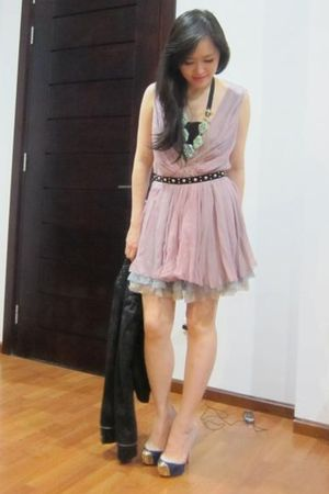 green Juicy Couture necklace - purple Louboutin shoes - pink LaRok dress