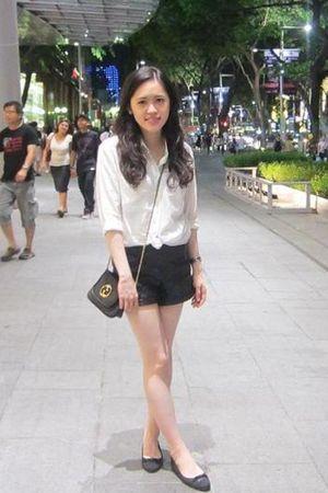 white Club Monaco shirt - black Topshop shorts