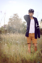 bronze Topman shorts - white Primark t-shirt - navy H&M cardigan