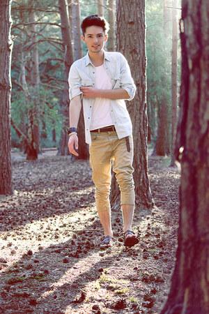 white Topman t-shirt - light blue Topman shirt - beige Topman pants