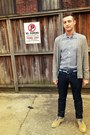 Heather-gray-cashmere-gap-cardigan-beige-suede-cole-haan-shoes