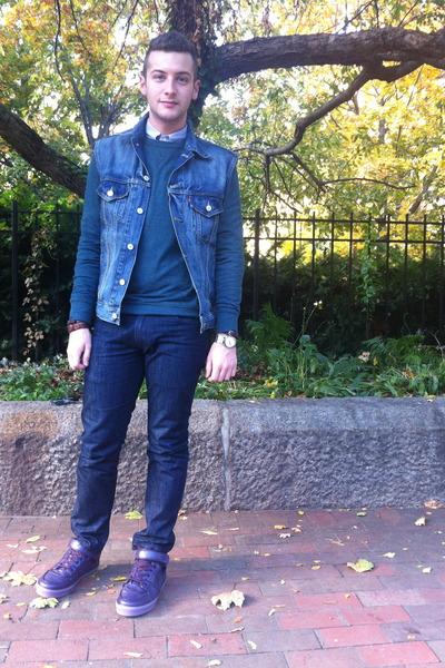 denim Levis vest - Levis jeans - gingham JCrew shirt - crewneck H&M sweatshirt
