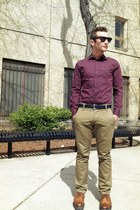 navy Celine sunglasses - brown Prada shoes - maroon H&M shirt