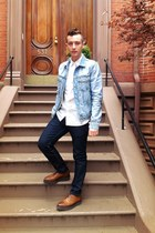 brown Prada shoes - Levis jeans - reversed denim H&M Margiela jacket