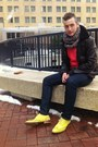 Yellow-wingtip-cole-haan-shoes-navy-levis-jeans-brown-leather-coach-jacket