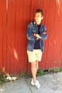 Denim-lucky-brand-shirt-striped-gap-shirt-cut-off-jcrew-shorts