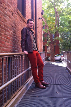 burnt orange H&M pants - brown Colehaan shoes - brown leather Gap jacket