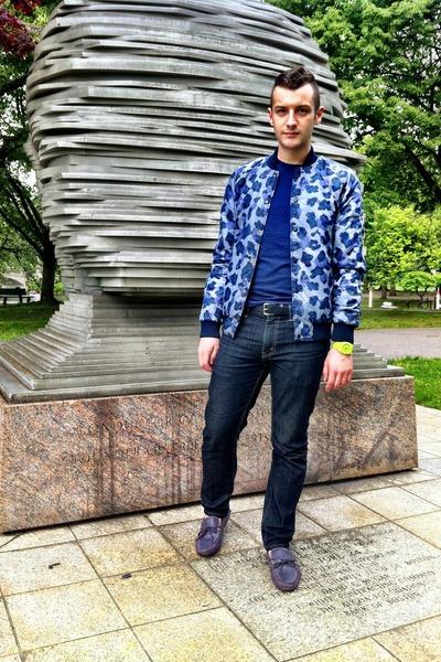 violet leopard print asos jacket - Levis jeans - navy H&M t-shirt