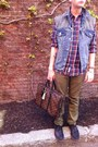 Metallic-louis-vuitton-shoes-plaid-gap-shirt-levis-pants-studded-diy-vest