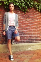 paint-splatter DIY shorts - light pink JCrew t-shirt - black Gucci belt
