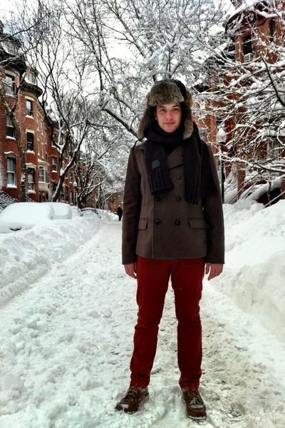black rabbit fur Crown Cap hat - tan coach boots - olive green wool H&M coat