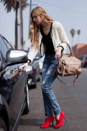 ivory michal  zoe cardigan - denim jeans michal  zoe jeans - michal  zoe bag