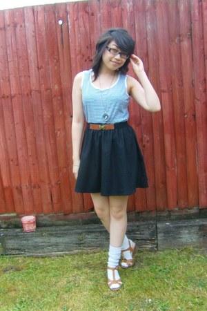 sandal wedges next wedges - socks Tabio socks - unbranded top - Zara skirt