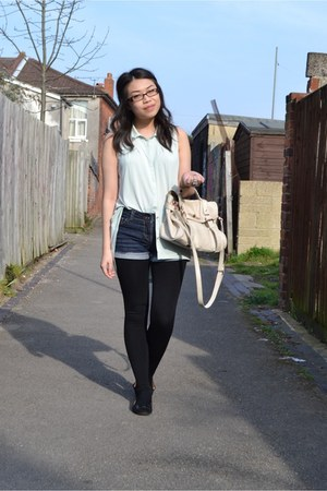 aquamarine Zara shirt - off white mulberry alexa Mulberry bag - navy DIY shorts