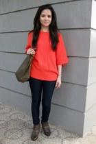 skinny Forever 21 jeans - longchamp bag
