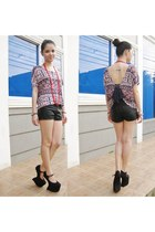 aztec print top - leather shorts - heel-less wedges
