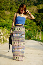 aztec print Forever 21 skirt - blue basic tube top