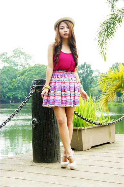 hot pink aztec love humbly sho skirt
