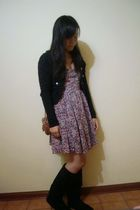 black blazer - pink Urban Outfitters dress - black boots - brown PacSun