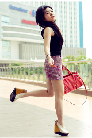 hot pink H&M skirt - pink Miu Miu bag - eggshell Aldo wedges - black noona top