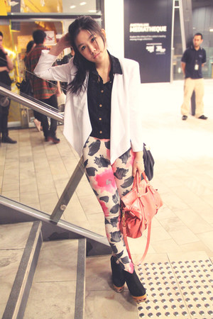 black kalika wedges - white asos blazer - bubble gum MiuMiu bag