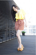 tan Jeffrey Campbell heels - tawny Topshop shorts - yellow silk ArynK top