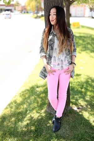 sheer Zara blouse - Jeffrey Campbell boots - BDG jeans - Zara jacket