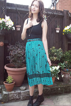black lace-up pixie Ebay boots - black Primark vest - teal pleated vintage skirt
