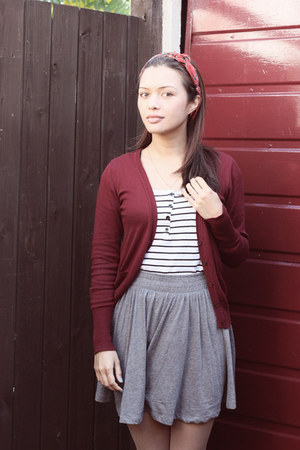 brick red Primark cardigan - white JayJays shirt - silver H&amp;M skirt