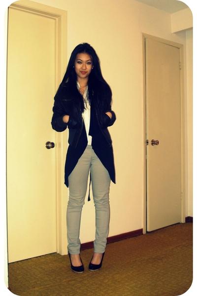jacket - drapey vest - blouse - jeans