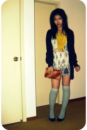 scarf - and white dress - cardigan - socks - clutch - belt