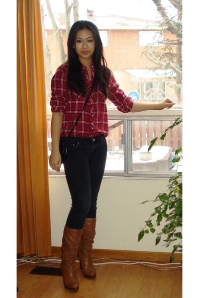 vintage shirt - H&M jeans - boots - moms closet