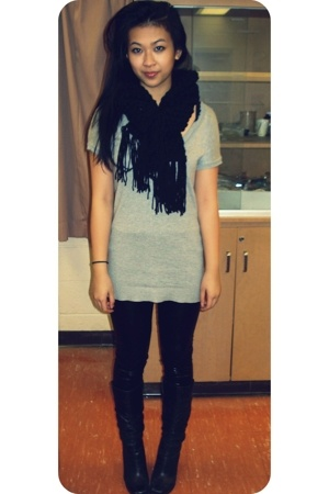 shiny tights - knit scarf - sheer sweater