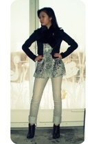 Macys scarf - free people blouse - Guess jeans