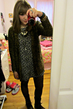 Steve Madden boots - Urban Outfitters dress - jeans - HUE tights
