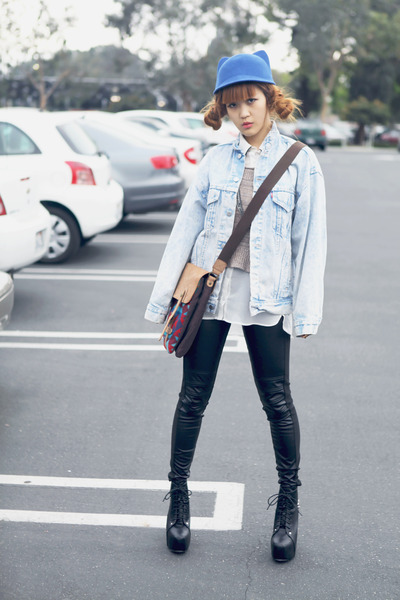 blue Choies hat - light blue Levis coat - tan Urban Outfitters sweater