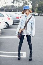 blue Choies hat - light blue Levis coat - tan Urban Outfitters sweater