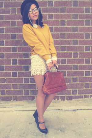 mustard vintage sweater - Aldo shoes - vintage shirt - vintage bag - lace shorts
