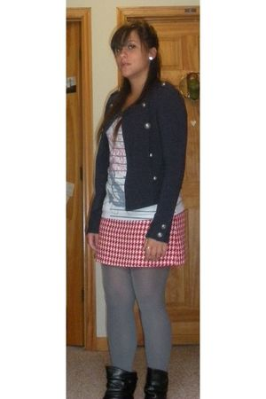 red Rue 21 skirt - blue Rue 21 jacket - white Charlotte Russe shirt