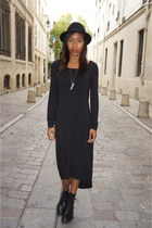 black Gap boots - black calvin klein dress - black H&M hat