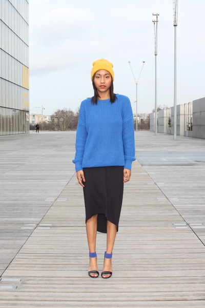 blue American Apparel sweater - black calvin klein dress - yellow H&amp;M hat