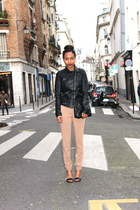 black Zara jacket - black H&M purse - camel Mango pants - black Nine West heels