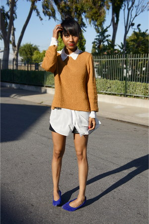 burnt orange Goodwill sweater - off white American Apparel blouse