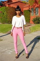 bubble gum American Apparel pants - cream atko blouse - black Nine West heels