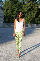 yellow Motel Rocks pants - aquamarine herve leger heels