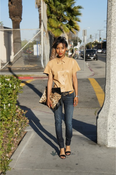 camel Michael Kors blouse - navy Genetic jeans - black Nine West heels
